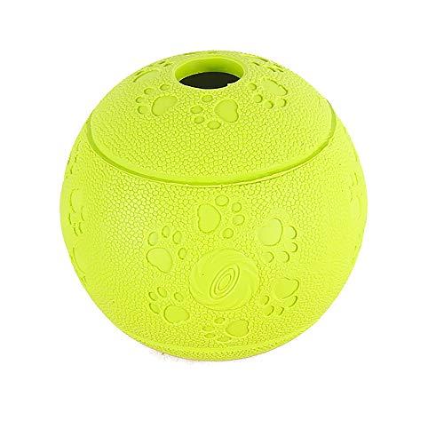 NA Dog Treat Ball - Dispensador de comida interactivo de goma para perseguir masticando jugando verde