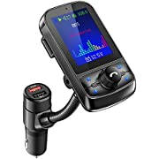 Nulaxy Bluetooth FM Transmitter for Car, Big Color Screen with QC3.0, Support USB Flash Drive, Micro SD Card, Hands-Free Calls, Aux Play- KM35 Black