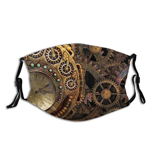 Minalo Face Cover Steam Punk Steampunk Background Gears Time Machine Balaclava Unisex Reusable Windproof Anti-Dust Mouth Bandanas Outdoor Camping Motorcycle Running Neck Gaiter with 2 Filters