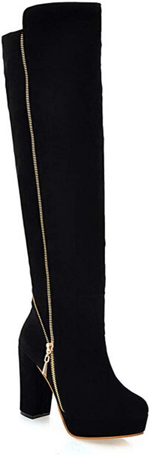 Women's Tilted Left Right Zip Charming Thigh High Boots - Wear-Resistant Anti-Slip Thick Sexy Over-Knee Boots
