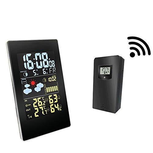 Kleine Wireless kleurenscherm Digitale Weerstation met afstandsbediening Sensor, Multifunctionele Weerklok binnen en buiten thermometer