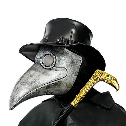 CreepyParty Máscara Doctor Peste Pájaro de Nariz Larga Máscaras de Accesorios de Disfraces de Halloween Steampunk Plata