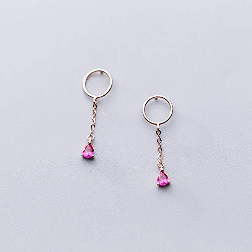 GenericBrands Pendientes de Borla de Gota de Agua de Cristal Rojo de Plata de Ley 925 para Mujeres Elegantes Accesorios de joyería Fina de Fiesta-Rose_Gold