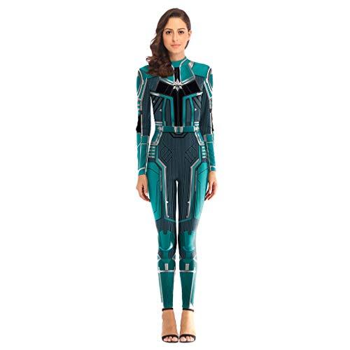 QWEASZER Avengers: Endgame Movie Captain Marvel Bodysuit Spandex Jumpsuits Captain Marvel Kostüm Damen Weihnachten Halloween Show Cosplay Kostüm,Green-M
