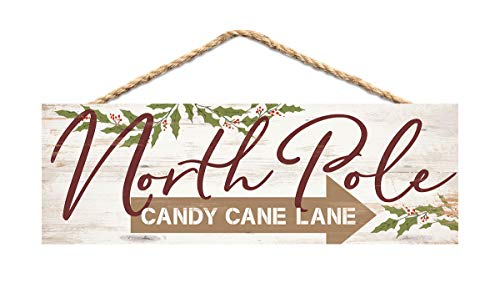 P. Graham Dunn North Pole Candy Cane Lane Brown 10 x 3.3 Pine Wood Christmas String Sign