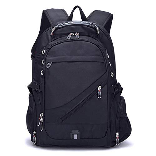 Oxford Mochila Suiza de Carga USB de 17 Pulgadas portátil Hombres Mochila de Viaje a Prueba de Agua Femenina Vintage School Bag Black 17 Inches