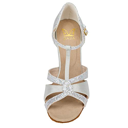 JIA JIA 20519 Damen Sandalen Ausgestelltes Heel Super-Satin Latein Tanzschuhe Silber, 38 - 6
