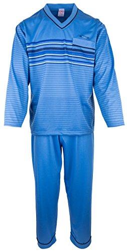 SOUNON - Herren Schlafanzug lang aus 100% Baumwolle mit V-Ausschnitt – Hellblau, Groesse 3XL