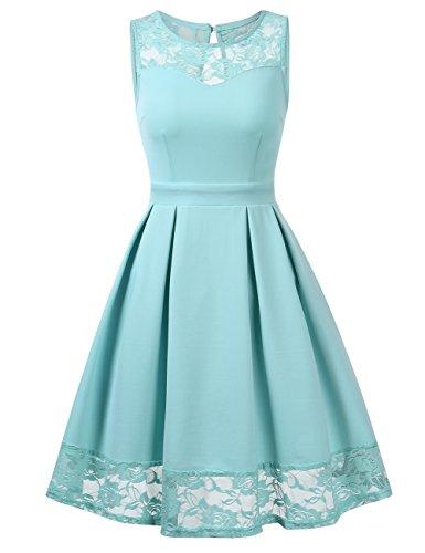 KOJOOIN Damen Elegant Kleider Spitzenkleid Ohne Arm Cocktailkleid Knielang Rockabilly Kleid Mint Grün Hellgrün Türkis L