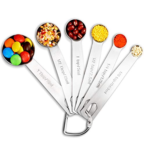 O-Maraco Measuring Spoons Set, 6Pcs Stainless Steel Metal Kitchen Measuring Tools Set, Measurement Spoons Set, for Cooking Baking, for Dry or Liquid, Fits in Spice Jar