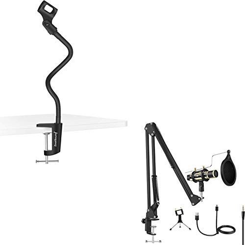 ZealSound u800 USB 3.5MM Microphone Kit Gold with Gooseneck Microphone Stand