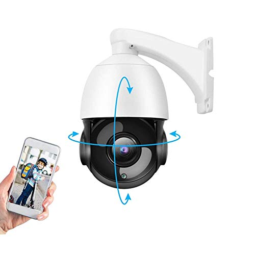 Telecamera HD per Esterni, 1080P 2MP 30X Zoom IP Speed ​​Dome Camera, PTZ Webcam Monitor per la Sicurezza Domestica all'aperto, Supporta ONVIF, Visione Notturna a IR, Rilevazione del Movimento(EU)