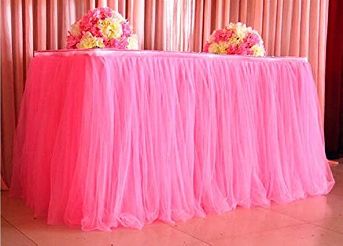 Yu2d 1pc Table Skirt Cover Birthday Wedding Festive Party Decor Table Cloth Multicolor