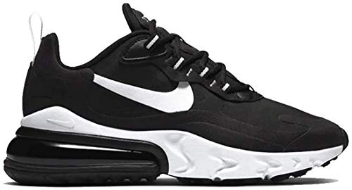 Nike Women's Air Max 270 React Running Shoes (8, Black/White-Black)