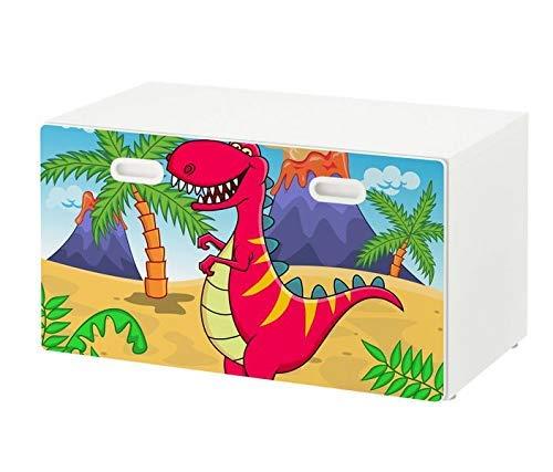 Möbelaufkleber für Ikea STUVA FRITIDS Bank mit Kasten Kinderzimmer cartoon T-Rex Dino Dinos Kat2 Vulkan Ausbruch Sommer Palme Drache STF1 Aufkleber Möbelfolie Folie (Ohne Möbel) 25O2645