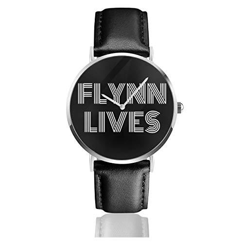 Relojes Unisex de Negocios Casuales Flynn Lives Tron Legacy Reloj de Cuarzo de Cuero con Correa de Cuero Negro para Hombres y Mujeres colección Joven Regalo