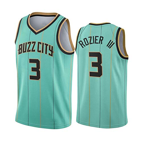 GIHI Camiseta De La NBA para Hombre, Nueva Temporada De 2021 Charlotte Hornets 3# Terry Rozier, Ropa De Entrenamiento De Baloncesto De Malla Bordada Retro,A,XXL(185~190CM/95~110KG)