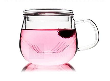Tazas para infusiones (300 mililitros, 10 onzas) Taza de té con infusor y tapa - Té a granel Té de frutas flores hibisco Taza para té Colador Filtrar Vidrio templado Borosilicato Novedad hecha a mano Regalo de pareja - Olvera Unihom