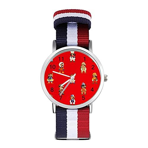 Reloj de ocio para adultos de moda ajustable con estilo espejo de cristal Shell Casual Deportes reloj de pulsera para hombres y mujeres para juegos Super Mario adulto reloj de ocio