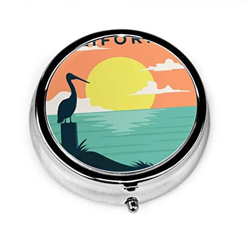 Pill Organizer Case, Tropical Sunset Surf und Beach Vintage Beach Vector Tragbare Pillenbox Kleiner Pillenbehälter für Geldbörse oder Tasche, Runde Pillenbox