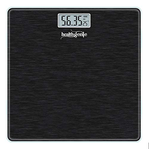 Healthgenie Thick Tempered Glass Lcd Display Digital Weighing Machine , Weight Machine For Human Body Digital Weighing Scale, Weight Scale, with 1 Year Warranty (Brushed Black).
