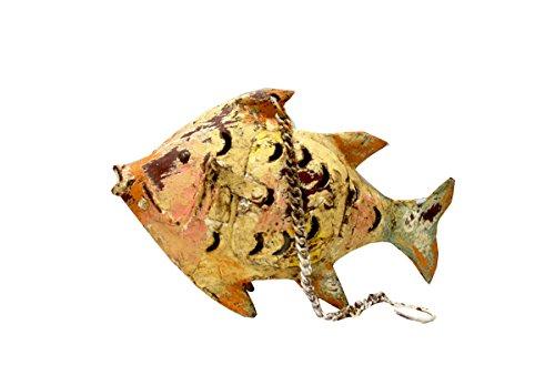 Keyhome Décoration en métal photophore décoration colorée pour intérieur ou Jardin Statuette Poisson Animal en Fer avec Finitions décoration Maison - Hauteur 13 cm
