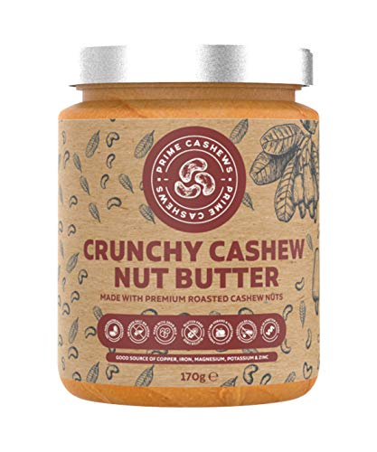 Natural Crunchy Cashew Nut Butter - 170g - Dry Roasted, Free-from Emulsifier, Oil, Salt or Sugar - Made from Single-Ingredient Premium Quality Cashew Nuts - Made in The UK.