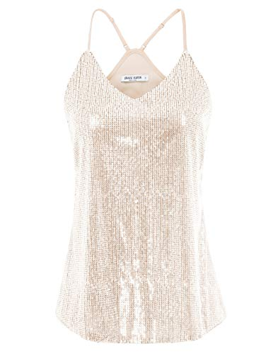GRACE KARIN Women Shimmer Sequin Embellish Sparkle Tank Tops Beige S