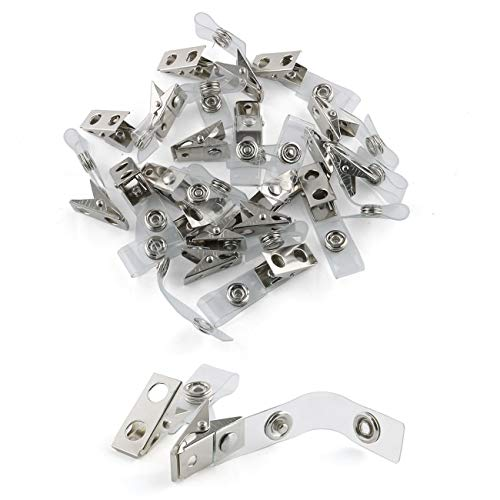 E-outstanding Metal Badge Clips 20PCS Double Hole Metal Badge Clips and Clear PVC Straps for Badge Holder ID Cards