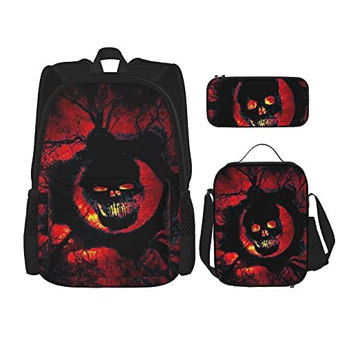 Halloween Scary Horror Rode Schedel Multifunctionele 3 In 1 Schooltas Set Voor Tiener Meisjes Voor Volwassenen/Kinderen…