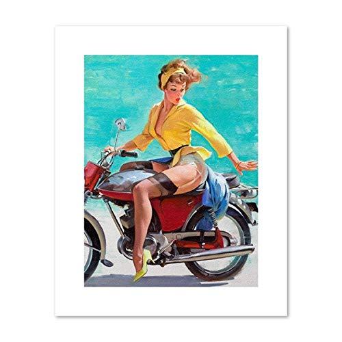NNDHYS Retro Pin Up Print Calendar Girl Kitsch Vintage Poster 1940 Naughty Pinup Art Canvas Painting Picture DIY Man Cave Decoración para el hogar 40x50cm Sin Marco