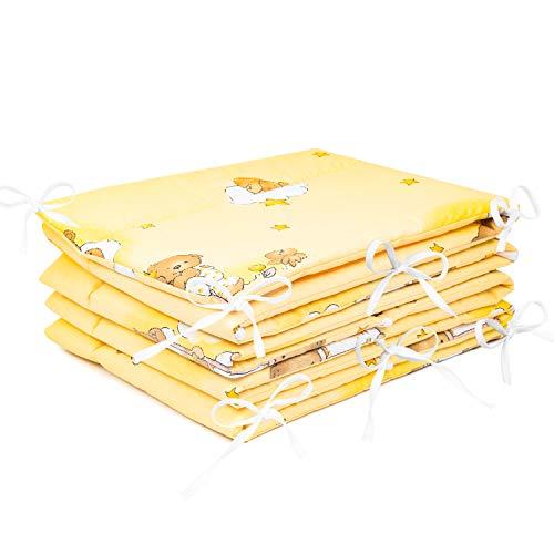 Imbottitura paracolpi per lettino 420x 30cm, 360x 30cm, 180x 30cm, con motivo orso sulla scala a pioli, colore ecru