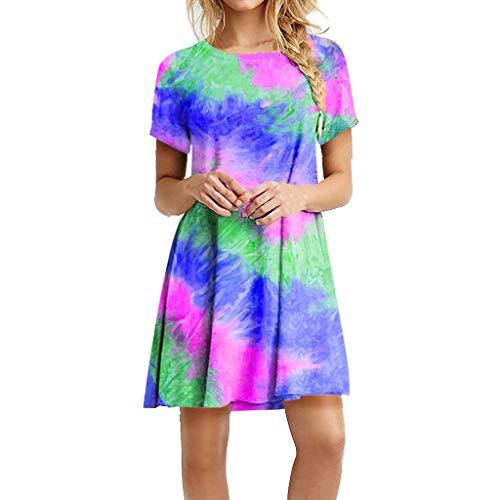 LEEDY Vestido de manga corta para mujer, estampado de tie-dye, para verano, casual
