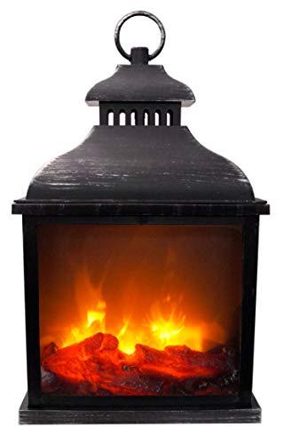 Kaminlaterne in vintage Metall-Look | 42,5x25x15cm | Laterne mit Flammeneffekt und lodernden Flammen | batteriebetrieben | zum Hängen und Stellen