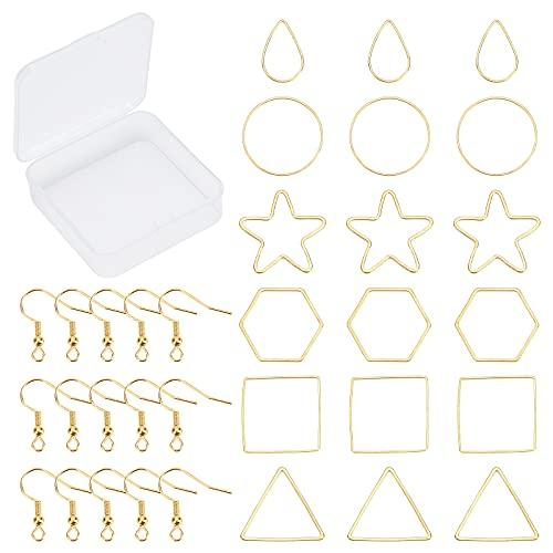 SUNNYCLUE 1 Caja 240 Ganchos Aros para Pendientes 120 Ganchos Aros de 6 Estilos Abalorios para Encontrar Conectores de Estrella En Forma Lágrima de Triángulo Cuadrado Y 120 Ganchos para Pendientes