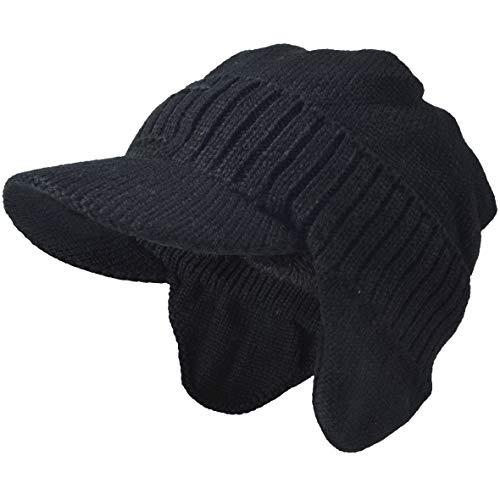 Hombres De Punto Visera Gorrita Tejida Lana Forrado Bofetada Invierno Sombreros (Orejera Negro)