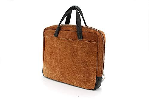 Computerbag Messengerbag Organizer Ponyfell braun Konferenztasche