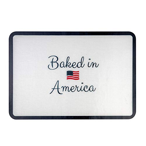 Bright Home Silicone Baking Mat - Food Safe, Non-Stick Sheet Mat for Baking - BPA free 11-5/8 x 16-1/2 -Half Sheet Size - Baked in America Design