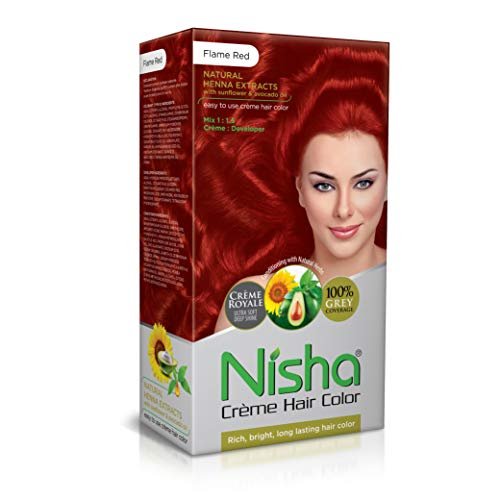Nisha Cream Permanent Hair Color Superior Quality Cream Formula Permanent Fashion Highlights(60gm+90ml Each Pack) (Pack of 1, Flame Red 150gm)
