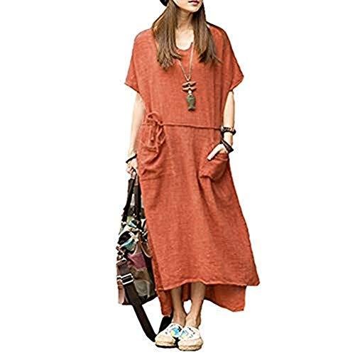 Romacci Damen Übergroße Retro Casual Lose Langes Kleid Baumwolle Leinen Solide Kurzarm Knöchellang Kleid-XXXXL-Orange
