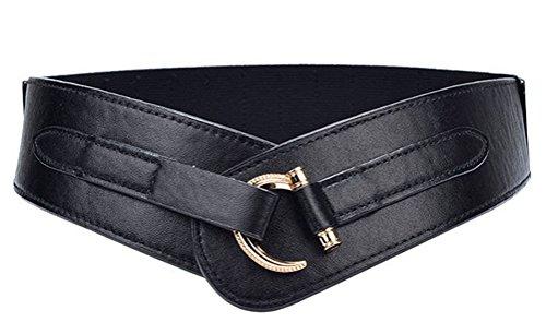 Women Leather Belt Hook Designed Buckle Wide Waist Belt Elastic Stretch Waist Band, Black, Large