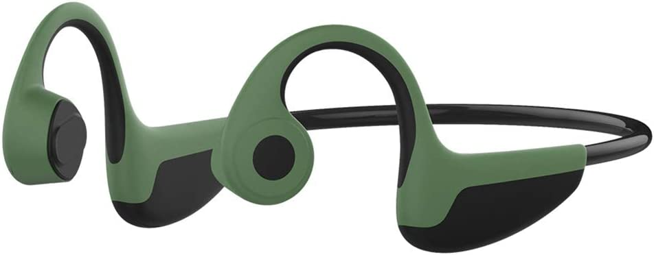 Bone Conduction Headphones Bluetooth V5.0 Wireless HiFi Stereo Waterproof Open Ear Sports Headsets with Mic for Running Driving Cycling Compatible with iPhone Android (Green)