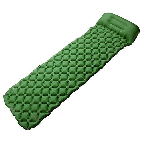 KJGHJ Almohadilla de dormir ultraligera, autoinflable para acampar, mochilero, senderismo con almohada (color verde)