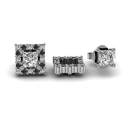 Damen Ohrringe / Ohrstecker 0.25 Karat 14 Karat Weißgold Rund Schwarz & weiß Diamant Abnehmbare Jacken für 1/4 Karat