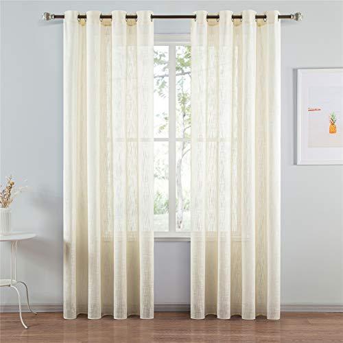 Topfinel Visillo Cortinas Habitacion de Raya Gasa Suave Salon Dormitorio Visillo Lino Vertical para...