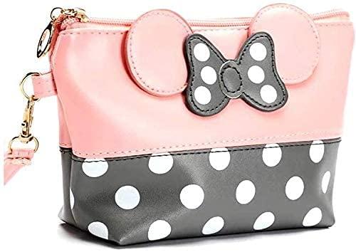 Recet Kosmetiktasche Mouse Ears Style Tupfen Kosmetiktasche - Damen Schminktasche Cartoon Mini Geldbörse für Handtasche Makeup Tasche,Schlüsseln, Kopfhörern, Lippenstift (Pulver Weiß)