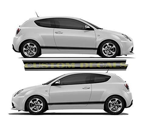Nuevo diseño único gráfico para Alfa Romeo Mito, calcomanías de Mito | Kit de pegatinas Alfa Romeo | Pegatinas Alfa Romeo, negro, 11 colores