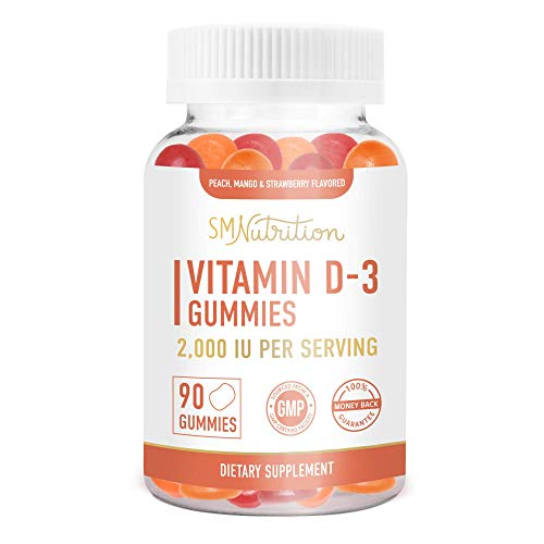 Vitamin D3 Gummies for Adults (90 Count) - 50mcg (2000 IU) - Bone Health*, Immunity*, Mood Support* Gummies; Third-Party Tested.