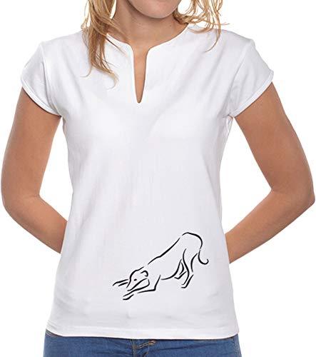 latostadora - Camiseta Galgo Juega, Mujrr para Mujer