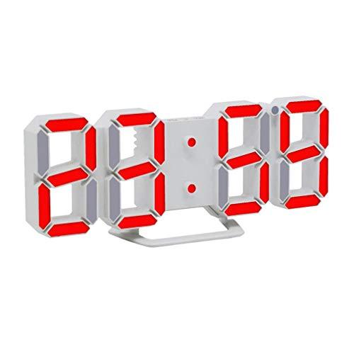 Moderne Digital LED 3D Tisch Schreibtisch Nacht Wanduhr Alarm Uhr Clock Display (RD)